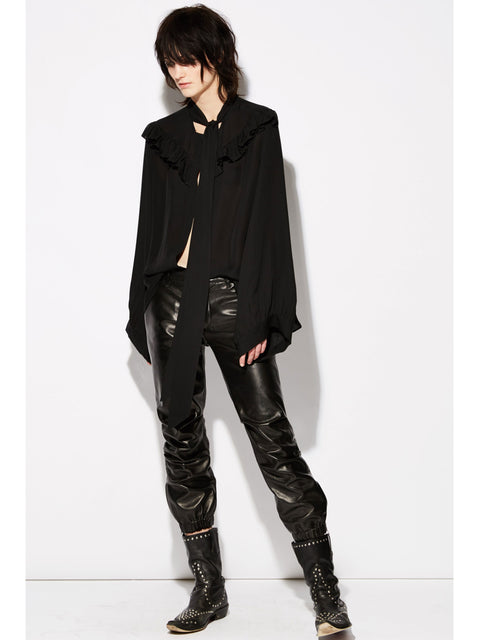 Cropped Military Leather Pant