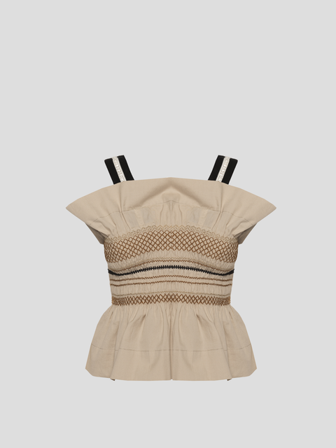 Anna Beige Rouched Top