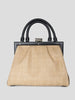 L'Attelage Leather and Raffia Handbag