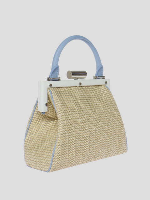 La Mini Attelage Raffia and Leather Top-Handle Bag