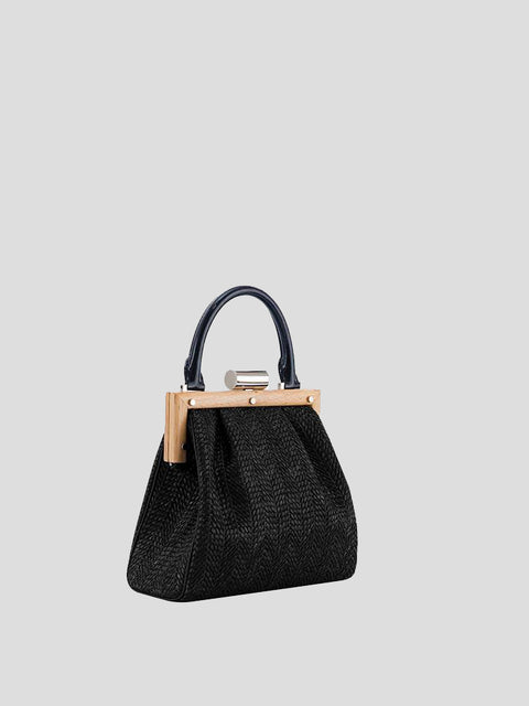 Le Midi Attelage Leather & Raffia Shoulder Bag