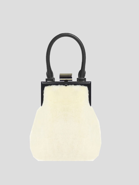 Le Mini Attelage Shearling Clutch
