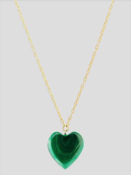 Malachite Heart 18k Yellow Gold Necklace,Haute Victoire,- Fivestory New York