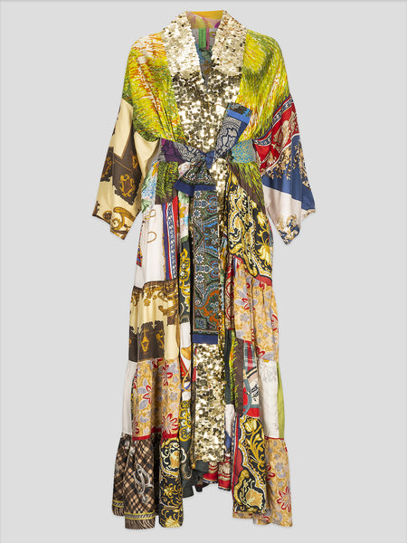 Multi Color Volant Kimono with Sequin Trim