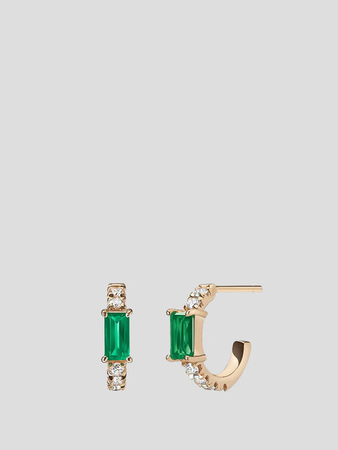 Nikita 14k Rose Gold and Emerald Huggie Hoop Earrings