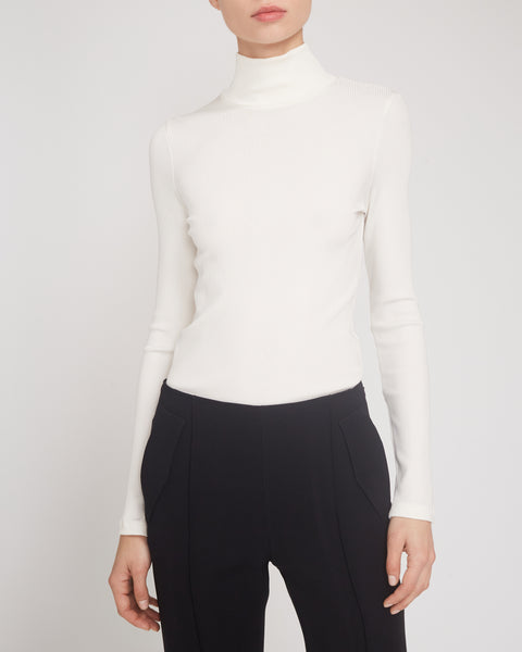 Rib Mockneck Long Sleeve Top