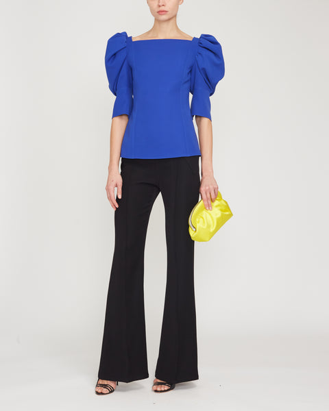 Crepe Puff Sleeve Boatneck Top