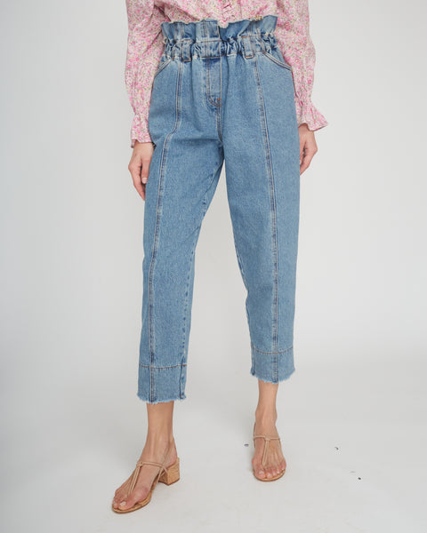 Paperbag-Waist Acid Wash Jeans