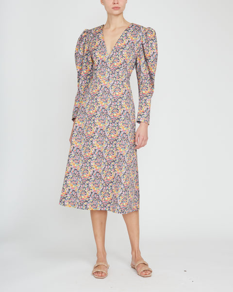 Puff Sleeve V-Neck Printed Gabardine Midi Dress