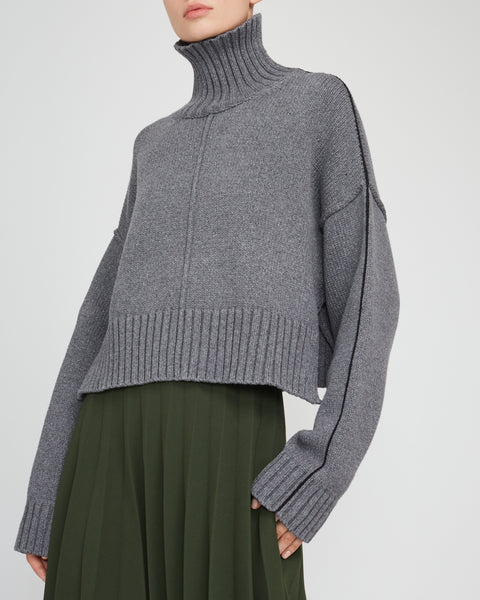 Cropped Knitted Turtleneck Sweater