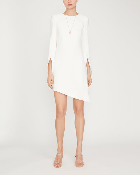 Asymmetric Bell-Sleeve Mini Dress,Brandon Maxwell,- Fivestory New York