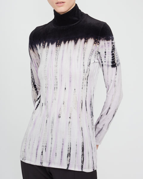 Long Sleeve Velvet Tie-Dye Turtleneck Top