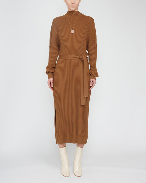 Silk-Cashmere Long-Sleeve Midi Dress