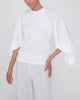 Scarf-Sleeve Ribbed T-Shirt,Rosetta Getty,- Fivestory New York