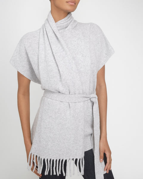 Draped Scarf Cashmere Short Sleeve Knit Pullover,Proenza Schouler,- Fivestory New York