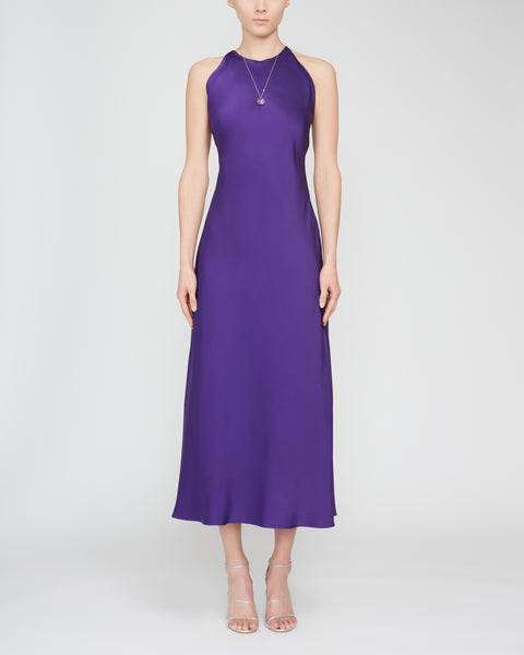 Satin-Silk Cross Back Slip Dress,Rosetta Getty,- Fivestory New York
