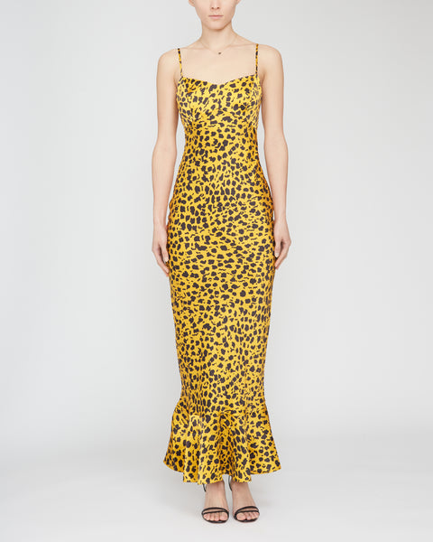Mimi Leopard-Print Silk Satin Slip Dress,Saloni,- Fivestory New York