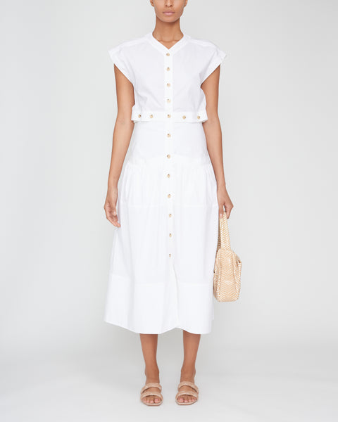 Short Sleeve Buttoned Cotton Dress,Proenza Schouler,- Fivestory New York