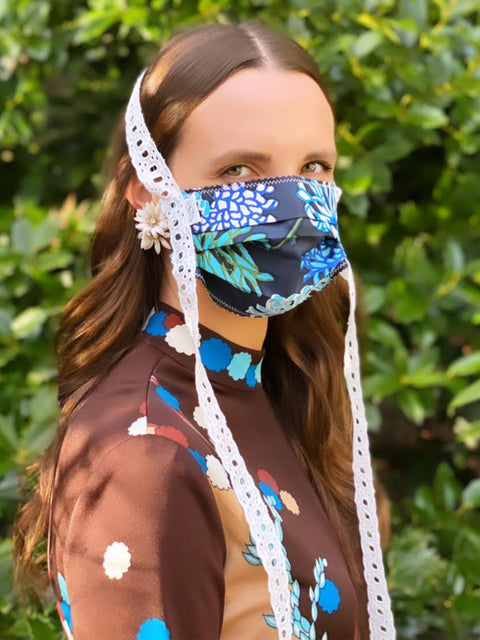 Floral Mask with Green Lace Trim
