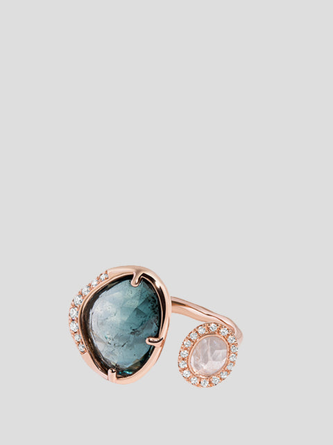 Galaxy Tourmaline and Moonstone Ring