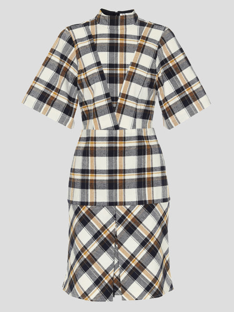 Short Sleeve Flannel Paneled Mini Dress