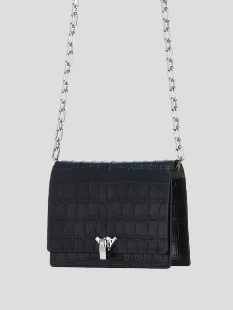 Po Embossed-Croc Pocket Shoulder Bag