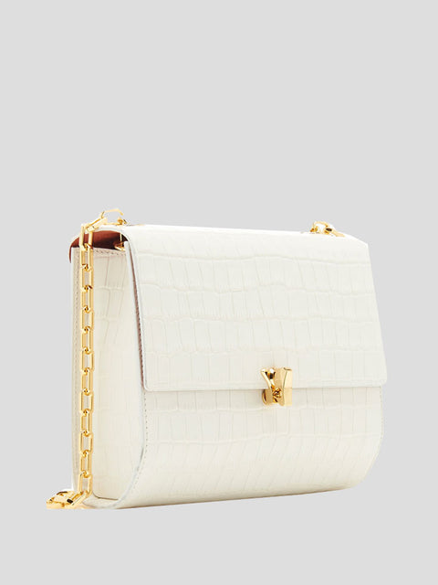 Po Moon Embossed-Croc Shoulder Bag