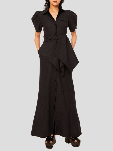 Peter Pan Puff Slv Maxi Dress