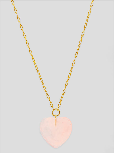 Rose Quartz Heart 18k Yellow Gold Necklace,Haute Victoire,- Fivestory New York