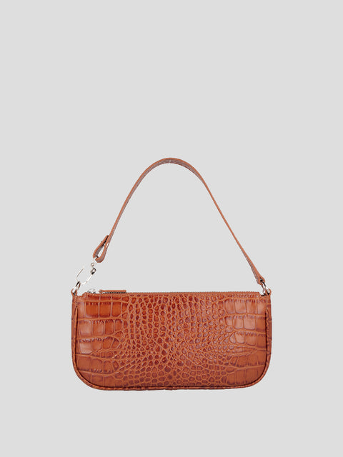 Rachel Croc-Embossed Shoulder Bag