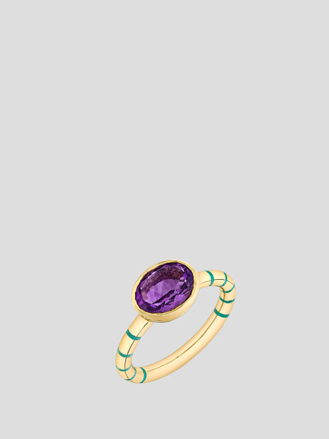 Stripe Bezel Oval Shirley Ring,Sarah Hendler,- Fivestory New York