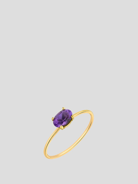 Mini Oval Amethyst Stacking Ring,Sarah Hendler,- Fivestory New York