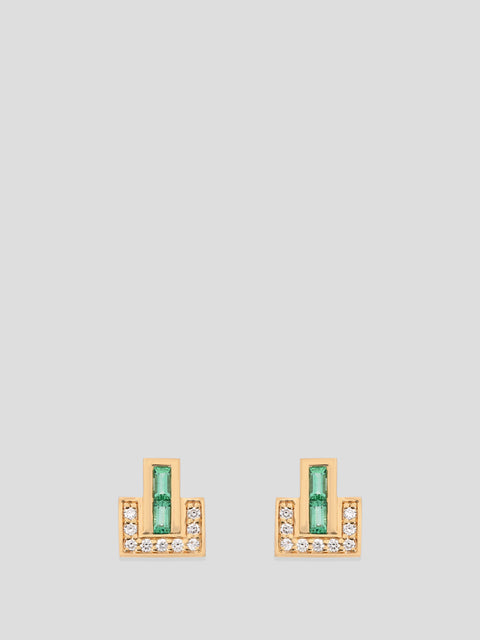 18k Yellow Gold and Emerald Stud Earrings,Emily P Wheeler,- Fivestory New York