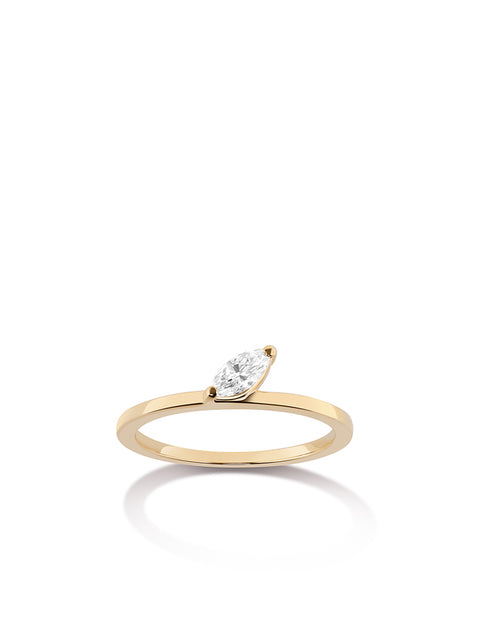 Defne 14k Yellow Gold and Diamond Ring