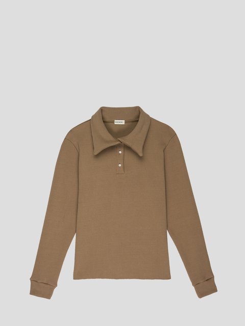 Camel Thick Thermal Polo Pullover