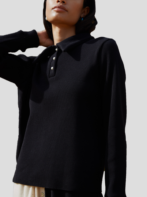 Black Thick Thermal Polo Pullover