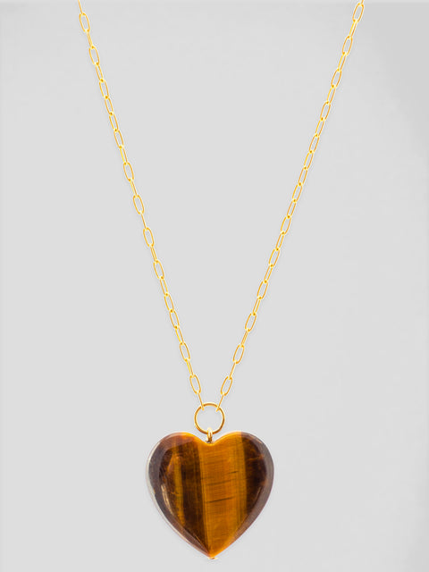 Tigers Eye Heart 18k Yellow Gold Necklace