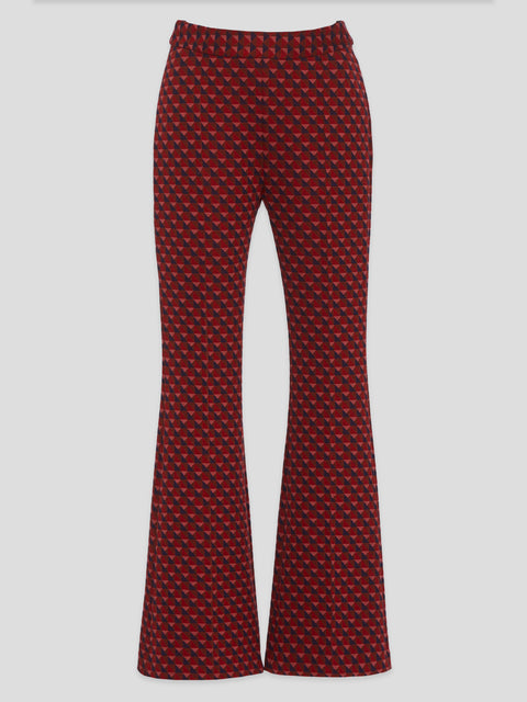 Triangle Jacquard Pull0On Cropped Flare Pants,Rosetta Getty,- Fivestory New York