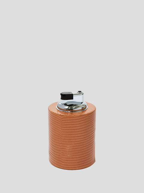 Taupe Leather Cylinder Lighter