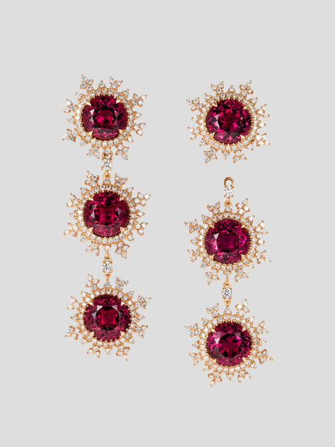 Tsarina Fire Triple Flake Earrings