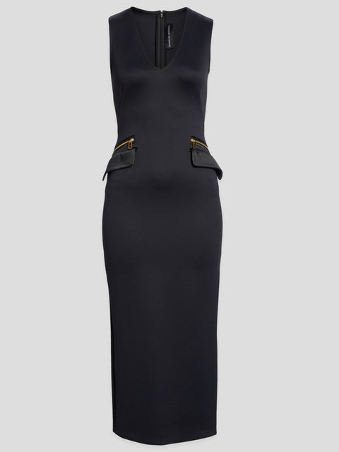 V-Neck Zip Pocket Dress,Brandon Maxwell,- Fivestory New York