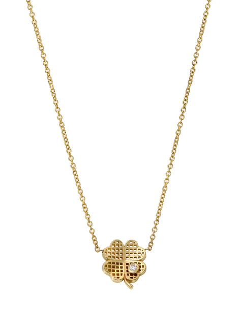 Waffle Clover Pendant Necklace