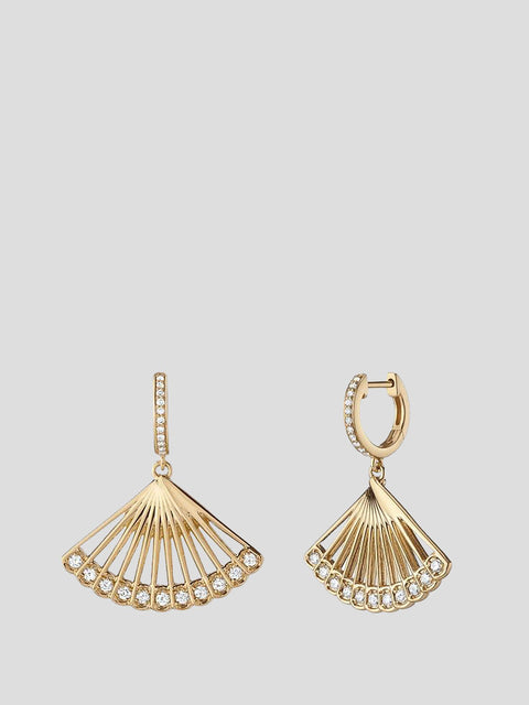 Zoe 14k Yellow Gold and Diamond Drop Earrings