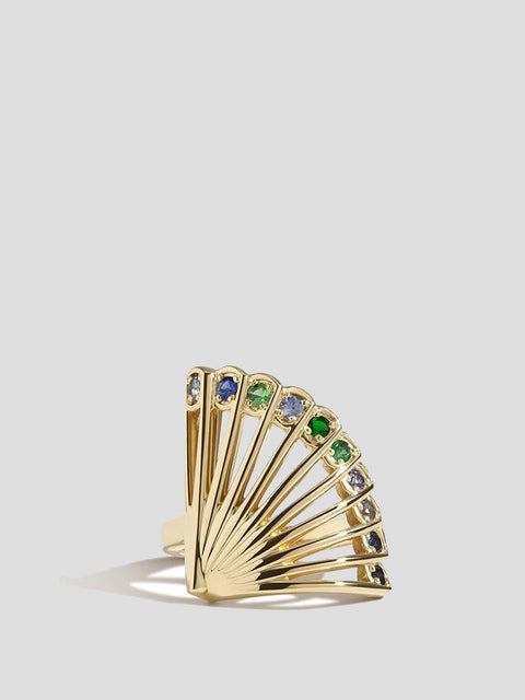 Zoe 14k Yellow Gold and Diamond Peacock Fan Ring