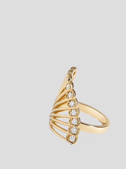 Zoe Fan 14k Yellow Gold and Diamond Ring