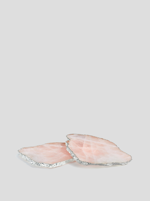 Kivita Silver Rose Quartz Coaster Set