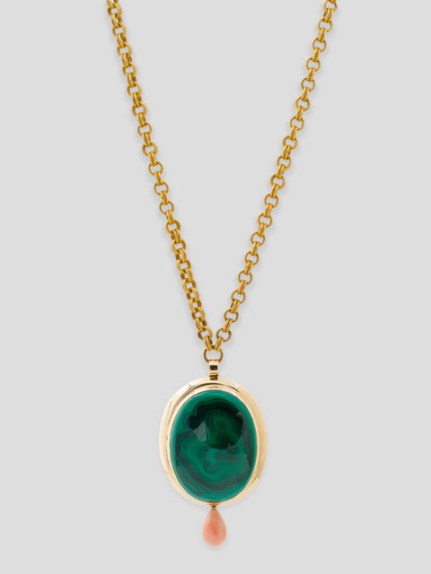 Antique Malachite 14k Yellow Gold Pendant,Haute Victoire,- Fivestory New York