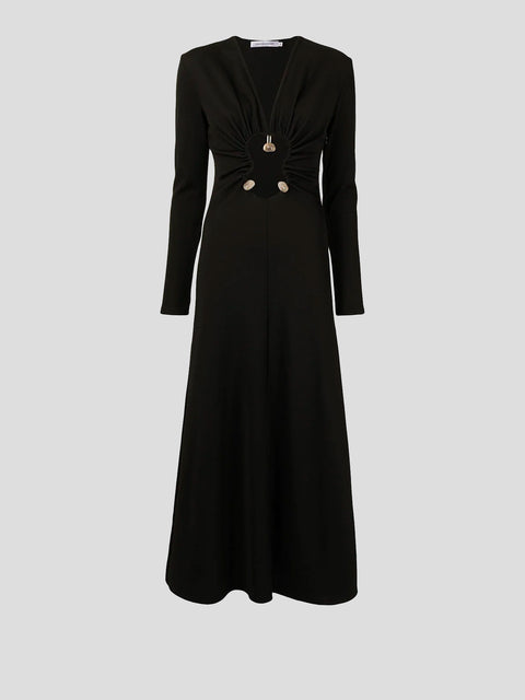 Black Hiero Rib Maxi Dress