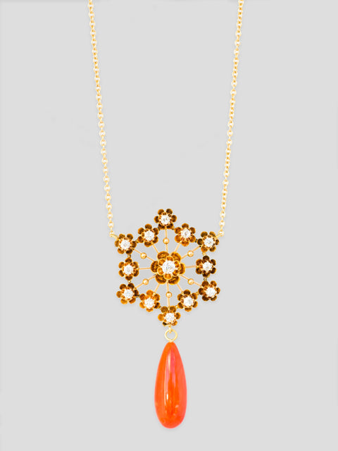 Antique Diamond and Coral 14k Yellow Gold Necklace