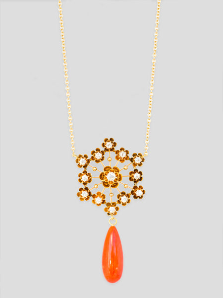 Antique Diamond and Coral 14k Yellow Gold Necklace,Haute Victoire,- Fivestory New York